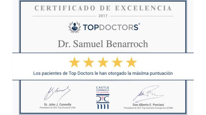 Certificado De Excelencia Top Doctors Dr Samuel Benarroch
